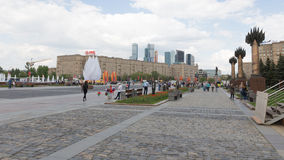 People relax in Victory Park, Russia royalty free stock photography