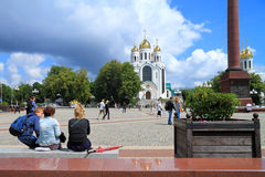 People relax on Victory Square in Kaliningrad Stock Image