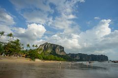 People relax and walking at Ao Nang beach before the sunset Stock Images