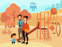 People relax and walking in urban park. Vector illustration Royalty Free Stock Photos