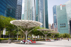 People relax on the waterfront Marina Bay in Singapore Royalty Free Stock Photography