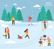 People relax in winter park royalty free illustration
