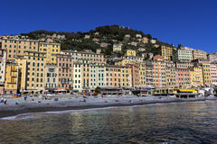 People relaxing on the beach in Camogli in Italy Royalty Free Stock Image