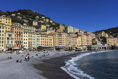People relaxing on the beach in Camogli in Italy Stock Photography