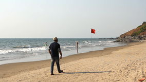 People relaxing on the beach. Unidentified people relaxing on the beach. Goa state Vagator beach stock video footage