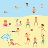 People relaxing on the beach. Vector illustration Stock Images