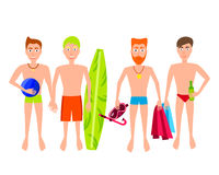 People Relaxing On The Beach. Vector Men Characters. Royalty Free Stock Photos