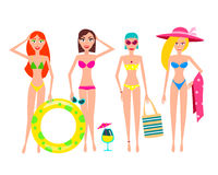 People Relaxing On The Beach. Vector Women Characters. Stock Image