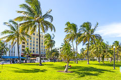People relaxing at beautiful Miami Beach Royalty Free Stock Photo