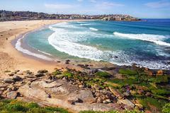 People relaxing on the Bondi beach in Sydney royalty free stock images