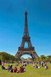 People relaxing on the Champ de Mars Stock Images