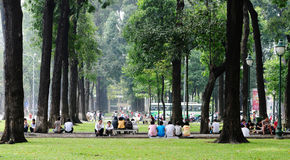 People relaxing at the city park in Saigon, Vietnam Royalty Free Stock Photography
