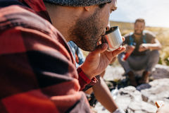 People on relaxing during countryside hiking Royalty Free Stock Photo