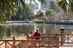 People relaxing in Green lake park in Kunming, Yunnan, the most popular place for leisure in the city Stock Image
