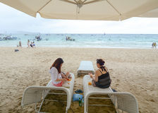 People relaxing during holidays on Boracay beach Stock Image