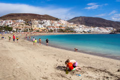 People relaxing on the Las Americas beach Royalty Free Stock Image