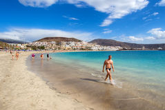 People relaxing on the Las Americas beach Stock Image