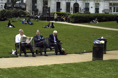 People relaxing in lunch break Royalty Free Stock Photos