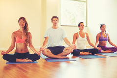 People Relaxing and Meditating in Yoga Class. Stock Photography