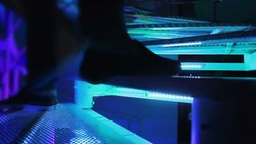 People relaxing in the nightclub, going up and down the stairs. Time-lapse. Stock footage stock video