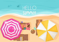 People relaxing by the ocean with hello summer words. Vector illustration. Exotic summer vacation top view. Royalty Free Stock Images