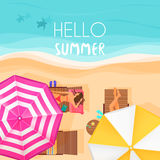 People relaxing by the ocean with hello summer words. Vector illustration. Exotic summer vacation top view banner Stock Images