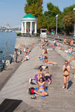 People relaxing at Olive Beach in Gorky Park Royalty Free Stock Photos