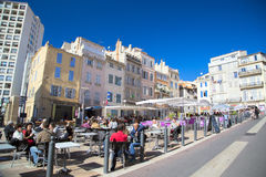 People relaxing on outdoor cafe in Marseille Stock Photos