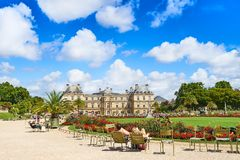 People relaxing in the Paris Luxembourg Garden, Jardin du Luxembourg stock images