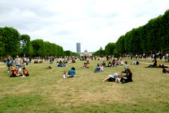People relaxing in the Park. People relaxing and enjoying the beauty of nature,the photo of 2012 Paris Royalty Free Stock Photography