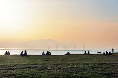 People relaxing in a park near sea Royalty Free Stock Images