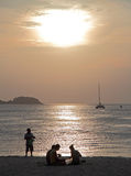 People are relaxing at the Patong Beach, Thailand Royalty Free Stock Image