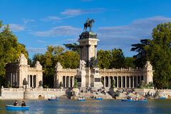 People Relaxing in the Pond of Retiro Park in Madrid Stock Images
