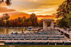 People relaxing in rowboats in the scenic pond of Buen Retiro Pa Royalty Free Stock Photography