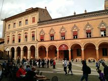 People relaxing at Santo Stefano square, Bologna stock image