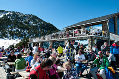 People relaxing after skiing, Tartar, Andorra Royalty Free Stock Photos