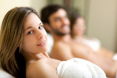 People relaxing in a spa Stock Photos