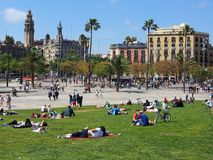 People Relaxing in Spring Sunshine, La Rambla, Barcelona Stock Photography