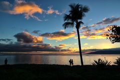 Relaxing end of the day on Maui at Baby Beach. Stock Photo