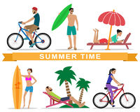 People relaxing during summer vacation Royalty Free Stock Image