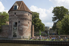 Terrace historical city walls Netherlands Royalty Free Stock Image