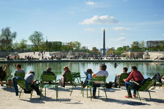 People Relaxing Tuileries Garden Royalty Free Stock Photography