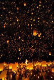 People release Khom Loi, the sky lanterns during Yi Peng or Loi Krathong festival Royalty Free Stock Images