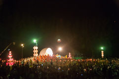 People release Khom Loi, the sky lanterns during Yi Peng or Loi Krathong festival Stock Images