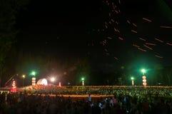 People release Khom Loi, the sky lanterns during Yi Peng or Loi Krathong festival Royalty Free Stock Photos