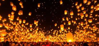 People release Paper Sky Lantern in Yee Peng Festival stock images