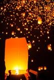 People release Paper Sky Lantern in Yee Peng Festival Stock Photos