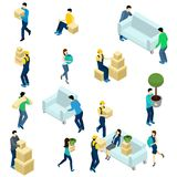 People Relocating Isometric Royalty Free Stock Images