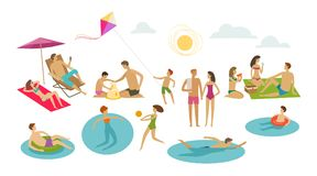 People rest on beach. Vacation, summer concept. Cartoon vector illustration vector illustration