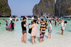 People rest on the famous on Phi Phi Leh island Royalty Free Stock Image
